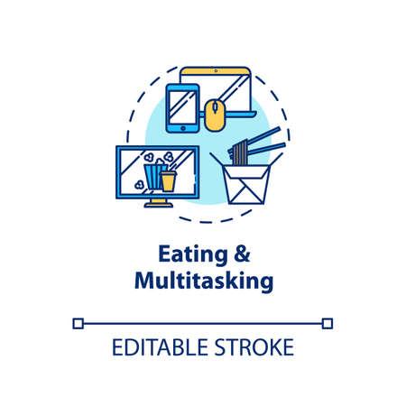 Eating and multitasking concept icon. Conscious nutrition, binge eating idea thin line illustration. Mindless food consumption. Vector isolated outline RGB color drawing. Editable stroke