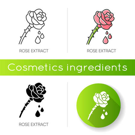 Rose extract icon. Flower petals. Fragrant component. Herbal toner. Floral serum. Aromatherapy with essential oils. Linear black and RGB color styles. Isolated vector illustrations Иллюстрация
