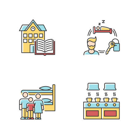 Dormitory RGB color icons set. Family dorm. Communal kitchen. Common space. Shared bedroom. Renting. Campus library. Living conditions. Isolated vector illustrations Ilustrace