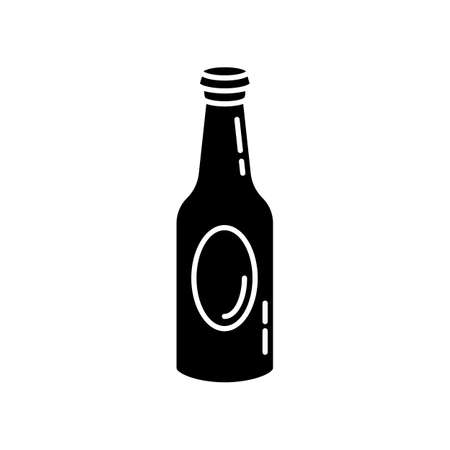 Beer bottle black glyph icon. Drinking establishment, bar, night club pub, tavern silhouette symbol on white space. Alcohol beverage, booze, craft brew vector isolated illustration