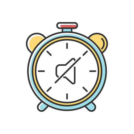 Quiet hours RGB color icon. Dormitory rules. Noise limit. Silence time. Residential life. Respectful attitude. Peaceful environment. Isolated vector illustration Ilustración de vector
