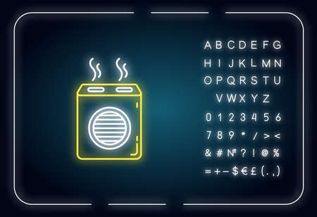 Modern air filter neon light icon. Humidifying household appliance, water evaporator. Outer glowing effect. Sign with alphabet, numbers and symbols. Vector isolated RGB color illustration