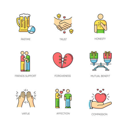 Friends relationship RGB color icons set. Social connection, strong interpersonal bond, emotional affection symbols. Friendly communication, fellowship. Isolated vector illustrations Çizim