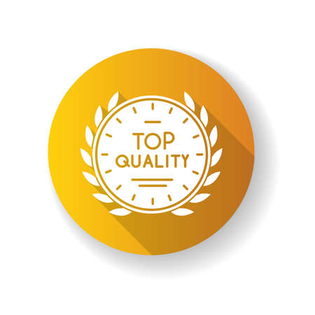 Top quality yellow flat design long shadow glyph icon. High quality product guarantee. Company brand equity, exclusive status. Expensive premium goods emblem silhouette RGB color illustration Illusztráció