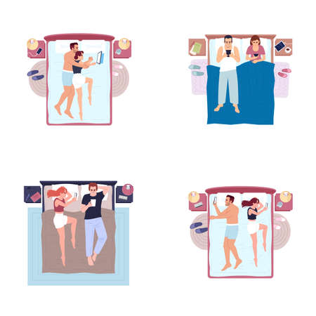 Married couples lying in bed with cell phones flat vector illustrations set. Smartphone overuse habit. Young family relaxing in bedroom, using gadget before sleeping isolated cartoon characters kit