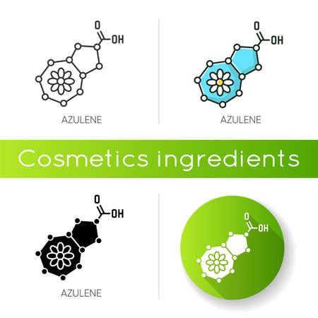 Azulene icon. Scientific compound. Chemical skincare formula. Blue pigment. Molecular structure. Atomic chain. Cosmetic ingredient. Linear black and RGB color styles. Isolated vector illustrations  イラスト・ベクター素材