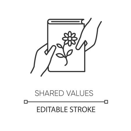 Shared values pixel perfect linear icon. Thin line customizable illustration. Common interests contour symbol. Literature, scrapbooking hobby. Vector isolated outline drawing. Editable stroke