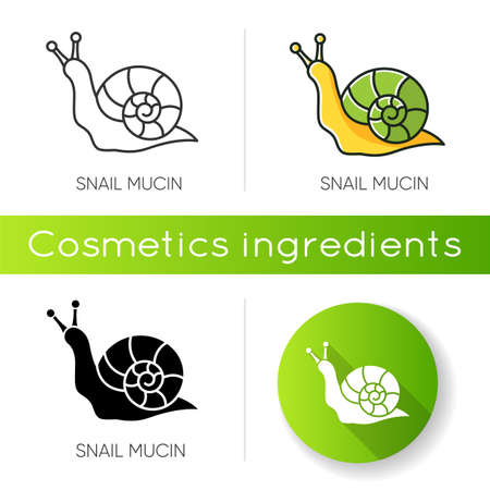 Snail mucin icon. Skincare natural component. Organic delicate product. Healing effect. Repairing effect for skin. Korean beauty. Linear black and RGB color styles. Isolated vector illustrations