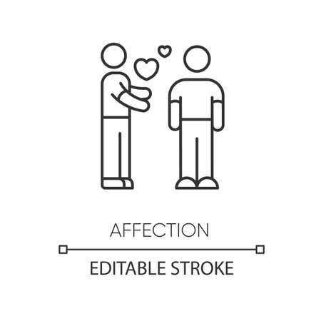 Affection pixel perfect linear icon. Thin line customizable illustration. Romantic feelings, love, amorous relationship. Valentine day contour symbol. Vector isolated outline drawing. Editable stroke