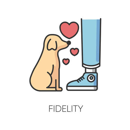 Fidelity RGB color icon. Best friend, friendship with pet. Domestic animal love and loyalty, emotional attachment, faithfulness symbol. Loyal little puppy isolated vector illustration