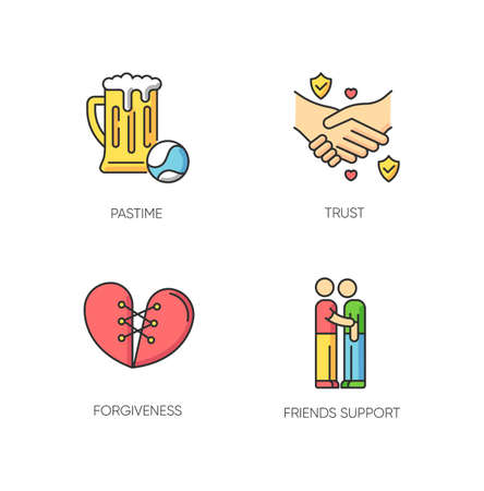 Best friends RGB color icons set. Strong interpersonal bond, emotional affection, friendship symbols. Pastime, trust, forgiveness and friends support. Isolated vector illustrations Vector Illustration