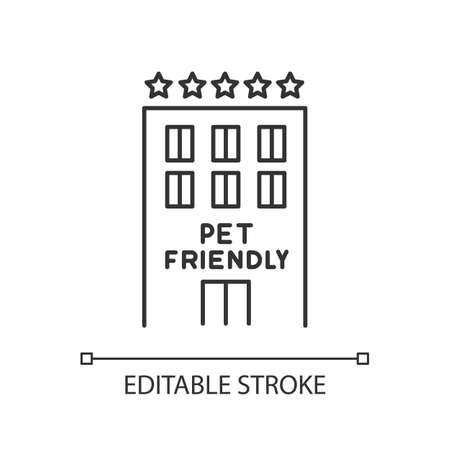 Pet friendly motel exterior pixel perfect linear icon. Animals welcome five-star hotel. Thin line customizable illustration. Contour symbol. Vector isolated outline drawing. Editable stroke