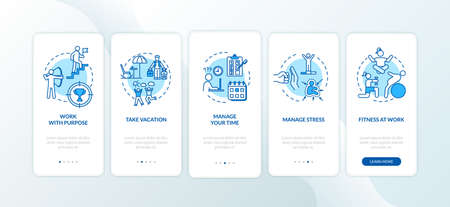 Avoid burnout onboarding mobile app page screen with concepts. Workout and exercise. Physical wellness walkthrough 5 steps graphic instructions. UI vector template with RGB color illustrations