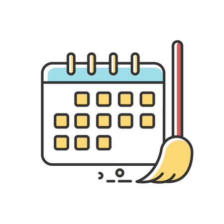 Cleaning schedule RGB color icon. Household chores. Plan, calendar. Cleanliness control. Keeping house clean. Tidy environment. Regular routine tasks. Isolated vector illustration