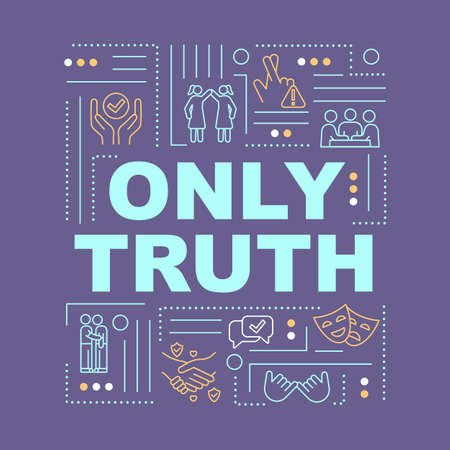 Trust and honesty word concepts banner. Interpersonal relationship principles. Infographics with linear icons on purple background. Isolated typography. Vector outline RGB color illustration