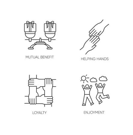 Friends togetherness pixel perfect linear icons set. Customizable thin line contour symbols. Mutual benefit, helping hands, loyalty, enjoyment. Isolated vector outline illustrations. Editable stroke