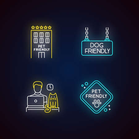 Pet friendly companies neon light icons set. Four-legged friends allowed hotels and offices. Cats and dogs permitted. Signs with outer glowing effect. Vector isolated RGB color illustrations