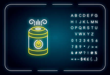 Air cleaner, steam humidifier neon light icon. Household appliance, ionizer, air purifier. Outer glowing effect. Sign with alphabet, numbers and symbols. Vector isolated RGB color illustration Archivio Fotografico - 142199068