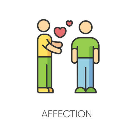 Affection RGB color icon. Romantic feelings, love, amorous relationship, interpersonal sympathy. Valentine day symbol. Emotional attachment, passionate romance. Isolated vector illustration Ilustração