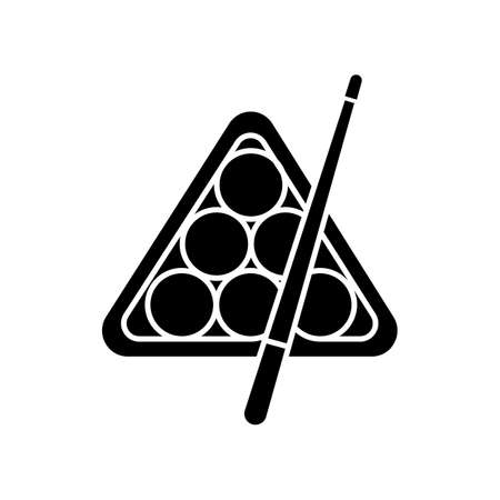 Billiards black glyph icon. Pub game, entertainment, leisure activity silhouette symbol on white space. Professional cue sport, pool, snooker attributes vector isolated illustration