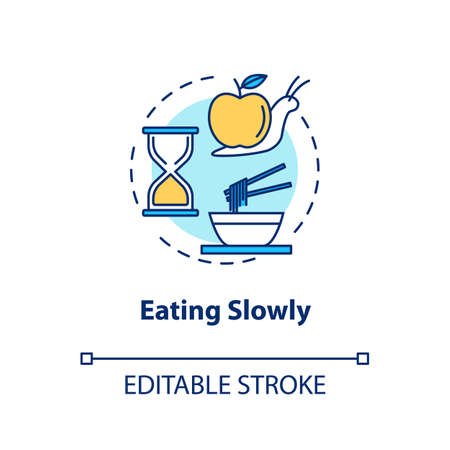 Eating slowly concept icon. Mindful nutrition idea thin line illustration. Thorough and attentive food consumption, enjoying meal. Vector isolated outline RGB color drawing. Editable stroke Illustration