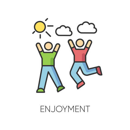 Enjoyment RGB color icon. Friendship, togetherness, happiness, friendly relationship symbol. Active pastime, outdoor recreation. Friends bonding activities. Isolated vector illustration Vector Illustration