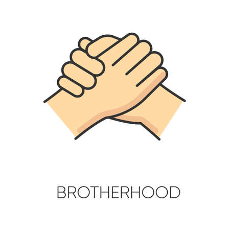 Brotherhood RGB color icon. Strong friendship, interpersonal bond, Friendly relationship between men. Togetherness, unity and fellowship symbol. Manly handshake isolated vector illustration