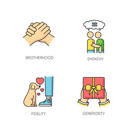 Friendly bonds RGB color icons set. Strong emotional attachment, friendship symbols. Interpersonal emotional connection. Brotherhood, empathy, fidelity and generosity. Isolated vector illustrations Ilustrace