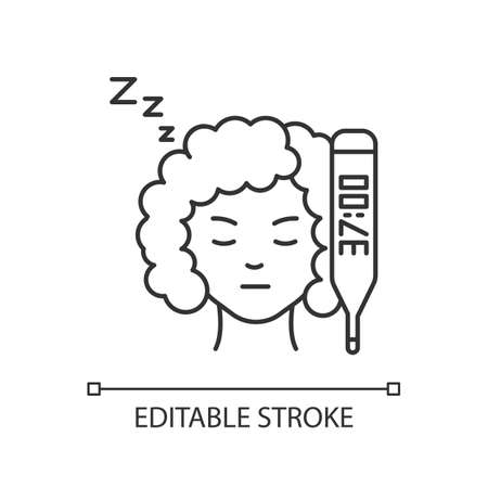 Raised basal temperature pixel perfect linear icon. Early pregnancy symptom. Girl feeling sick. Thin line customizable illustration. Contour symbol. Vector isolated outline drawing. Editable stroke Vecteurs