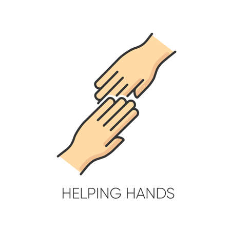 Helping hand RGB color icon. Friendly support, friends assistance. Friendship, virtue, outreach symbol. Social aid, charitable relief, voluntary service. Isolated vector illustration