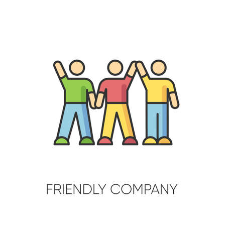 Friendly company RGB color icon. Friendship, social communication, fellowship symbol. Unity and togetherness. Cheerful best friends group spend time together. Isolated vector illustration Illustration