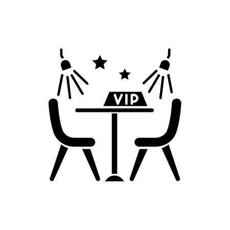 VIP lounge zone black glyph icon. Luxurious night club recreation, premium quality service silhouette symbol on white space. Special area with limited access vector isolated illustration