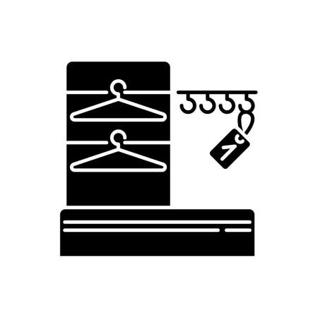 Wardrobe black glyph icon. Dressing room, checkroom silhouette symbol on white space. Cloakroom for clothing safekeeping, outerwear storage with trempels and hangers. Vector isolated illustration