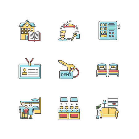 Renting RGB color icons set. Family dormitory. Communal kitchen. Identity card. Living room. Intercom. Shared space. Rental service. Isolated vector illustrations Ilustrace