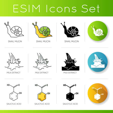 Cosmetic ingredient icons set. Snail mucin. Milk extract. Salicylic acid. Chemical formula. Skincare products componets. Linear, black and RGB color styles. Isolated vector illustrations