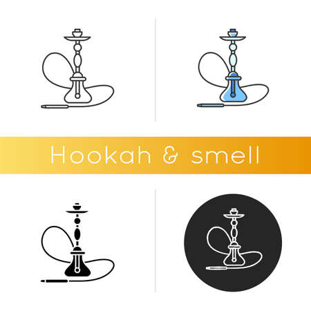 Hookah icon. Sheesha house. Glass sphere base. Popular nargile lounge. Odor from pipe. Scent of vaporizing. Smoking area. Linear black and RGB color styles. Isolated vector illustrations