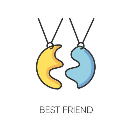 Best friend RGB color icon. Strong interpersonal bond, emotional affection friendship symbol. Traditional friendly relationship accessory. BFF charm, necklace isolated vector illustration