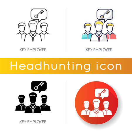 Key employee icon. Linear black and RGB color styles. Most valuable worker, successful team leader. Professional human resources management. Important staff member. Isolated vector illustrations