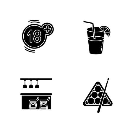 Adult recreation black glyph icons set on white space. Night club recreation activities silhouette symbols. Eighteen plus number, cocktail, bar counter and billiards vector isolated illustrations