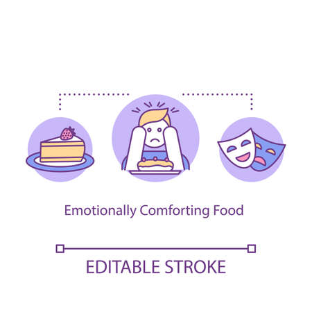 Emotionally comforting food concept icon. Mindful eating, conscious nutrition idea thin line illustration. Tempting snacks, satisfying meal. Vector isolated outline RGB color drawing. Editable stroke Illustration