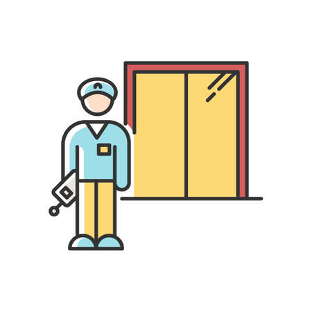 Night dorm watchman RGB color icon. College dormitory janitor. Security guard. Residential hall employee. Hotel security. Elevator operator. Liftman. University warden. Isolated vector illustration