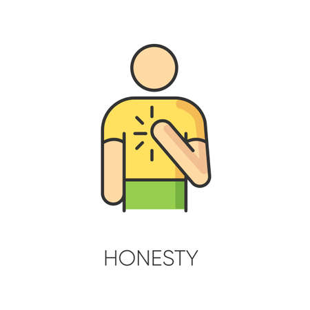 Honesty RGB color icon. Truthfulness, sincerity and credence symbol. Moral virtue, ethical value. Trustworthy, sincere, person. Reliable, genuine friend isolated vector illustration