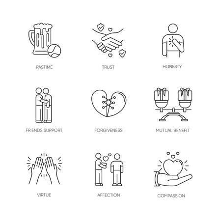 Friends relationship pixel perfect linear icons set. Social connection, strong interpersonal bond customizable thin line contour symbols. Isolated vector outline illustrations. Editable stroke Çizim