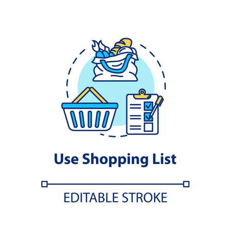 Use shopping list concept icon. Mindful eating, consumerism idea thin line illustration. Avoiding impulse buying, planning purchases. Vector isolated outline RGB color drawing. Editable stroke