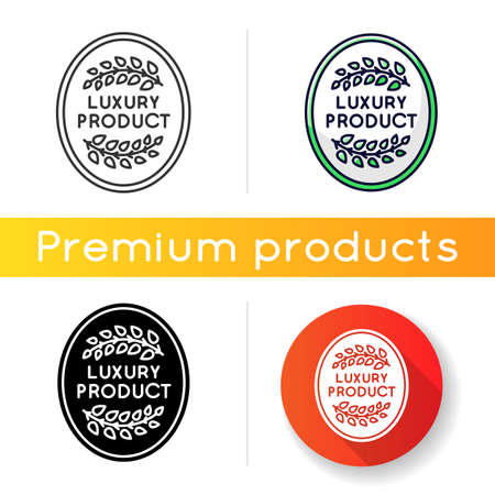 Luxury product icon. Linear black and RGB color styles. Top quality goods, premium status assurance, brand equity. Elegant emblem with laurel branches isolated vector illustrations