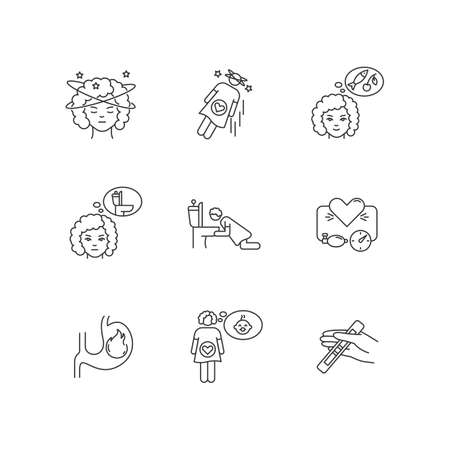 Early pregnancy symptom pixel perfect linear icons set. Feeling of dizziness. Falling from fainting. Customizable thin line contour symbols. Isolated vector outline illustrations. Editable stroke