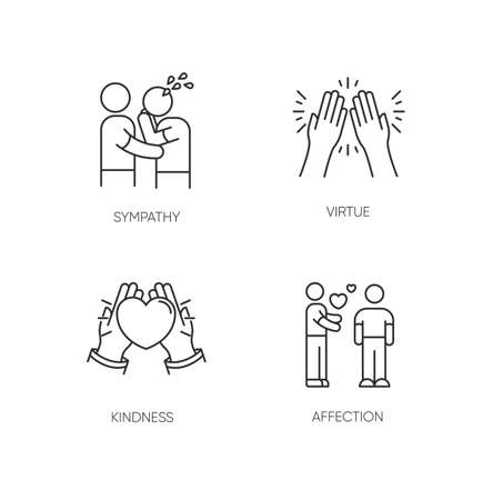 Social connection pixel perfect linear icons set. Interpersonal relationship, friendship customizable thin line contour symbols. Isolated vector outline illustrations. Editable stroke