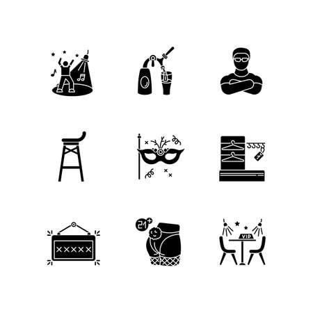 Night club leisure black glyph icons set on white space. Nightclub entertainment, clubbing party silhouette symbols. Dancing and drinking establishment. Vector isolated illustrations