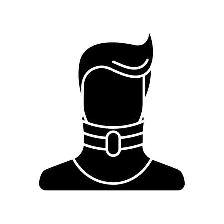 Cervical fracture black glyph icon. Broken neck. Human in neck brace, collar. Medical device. Healthcare. Treatment. Injury, trauma. Silhouette symbol on white space. Vector isolated illustration