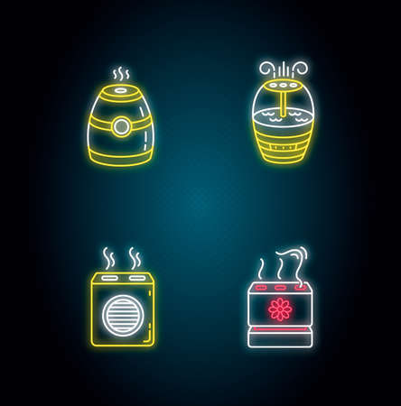Air purifiers variety neon light icons set. Modern air humidifiers, climate control devices, humidity regulators. Signs with outer glowing effect. Vector isolated RGB color illustrations